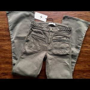 7FAM Braided Flare Jeans Military Green NWT